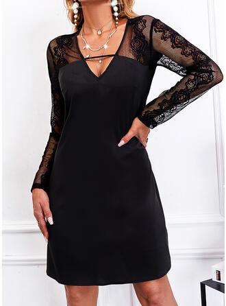 固体 レース 長袖 シフトドレス 膝上 リトルブラックドレス/エレガント ドレス