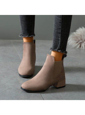 Women's Suede Chunky Heel Ankle Boots Round Toe With Elastic Band Solid Color shoes