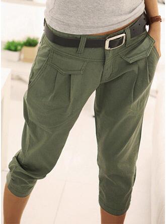 Sólido Algodón Capris Casual Vacaciones Clásico Bolsillo shirred Pantalones de salón