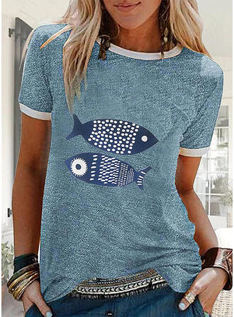 Estampado Animal Cuello redondo Manga corta Casual Camisetas