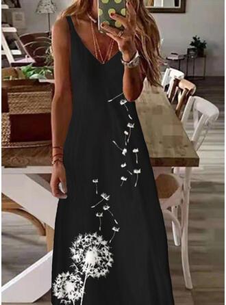 Impresión/Floral Sin mangas Vestido línea A Patinador Casual Maxi Vestidos