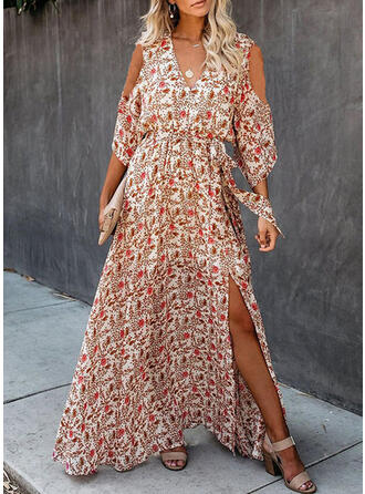 Impresión/Floral Mangas 3/4/Top sin hombros Acampanado Casual/Elegante/Vacaciones Maxi Vestidos