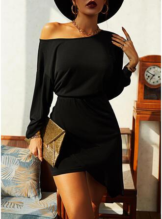 Solid Long Sleeves/Lantern Sleeve Bodycon Asymmetrical Little Black/Elegant Dresses