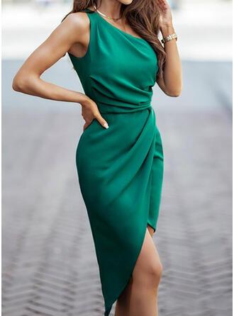 固体 ノースリーブ シースドレス 膝丈 エレガント ドレス