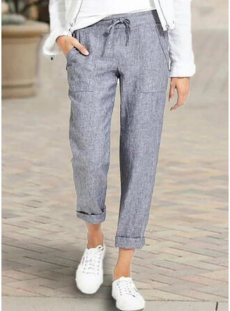 Pockets Shirred Plus Size Casual Long Pants