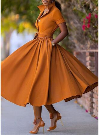 Jednolita Krótkie rękawy W kształcie litery A Łyżwiaż Przyjęcie Midi Sukienki