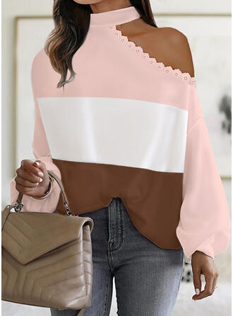 Color Block Lace Knit One Shoulder Long Sleeves Dropped Shoulder Casual Blouses