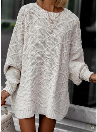 固体 ラウンドネック カジュアル セータードレス