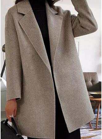 Manga Larga Sólido Abrigo lana