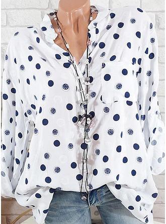 Impresión Cuello de Erguido Manga Larga Casual Blusas