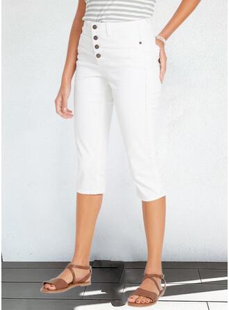 Sólido Capris Casual Tallas Grande Oficina / Negocios Bolsillo Botones Pantalones