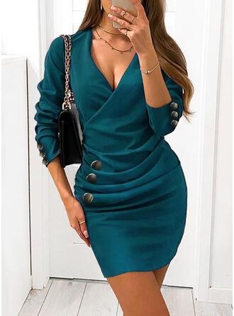 Egyszínű Hosszú ujjú Testre simuló ruhák Térd feletti Elegáns φορέματα