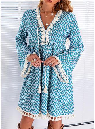 印刷 長袖 フレアスリーブ シフトドレス 膝上 カジュアル チュニック ドレス