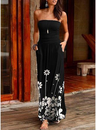 Nadrukowana/Kwiatowy Bez rękawów W kształcie litery A Łyżwiaż Casual Maxi Sukienki