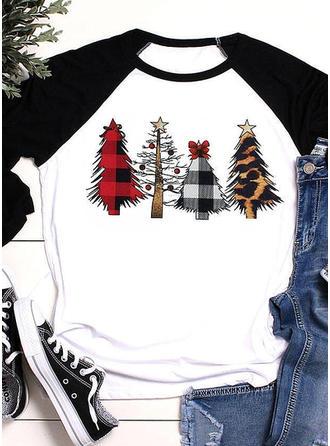 Impresión Navidad Cuello redondo Mangas 3/4 Sudadera de navidad