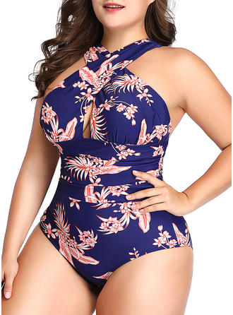 Tropical Print Halter Sexy Plus Size One-piece Swimsuits
