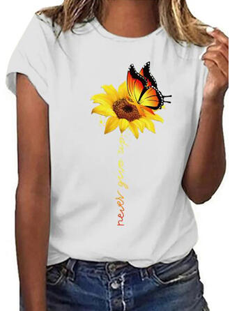 Animal Print Sunflower Print Round Neck Short Sleeves T-shirts