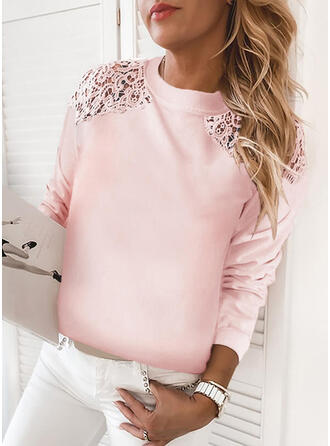 Solid Lace Round Neck Long Sleeves Sweatshirt
