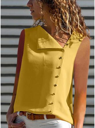 Sólido Solapa Sin mangas Con Botones Casual Blusas