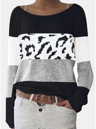 Blocchi di colore leopardo Girocollo Maniche lunghe Magliette