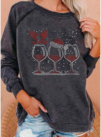 Sequins Round Neck Long Sleeves Christmas Sweatshirt