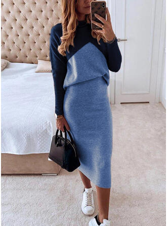 Color Block Long Sleeves Bodycon Pencil Elegant Midi Dresses