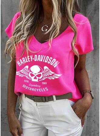 Figura Impresión Cuello en V Manga Corta Camisetas