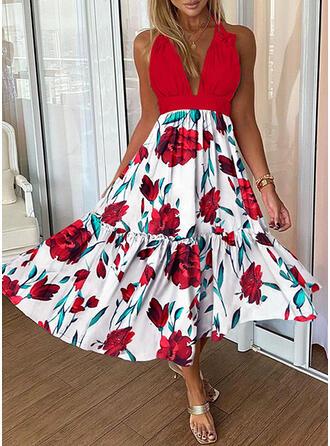 Nadrukowana/Kwiatowy Bez rękawów W kształcie litery A Łyżwiaż Seksowna Maxi Sukienki