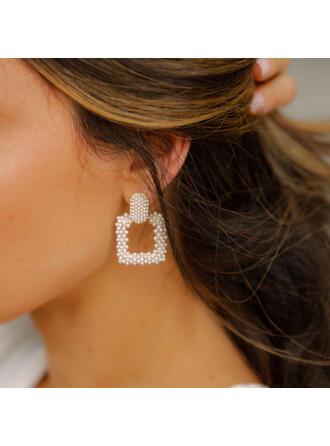 Lysande Utsökt Torget Legering Fauxen Pärla med Pärlor Kvinnor örhängen 2 st