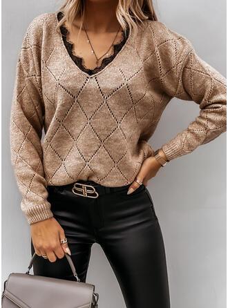 Koronka V-nyak Hétköznapokra πουλόβερ