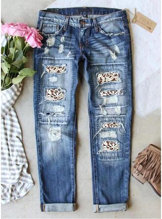 Estampado Jean Grandes Casual Tamanho positivo Bolso rasgado Jeans