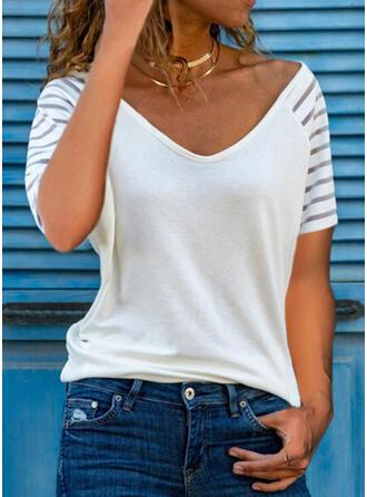 Solid V-ringning Korta ärmar T-tröjor