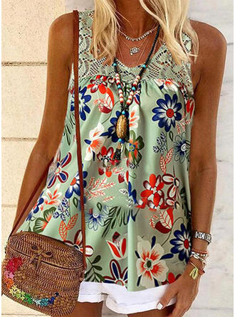 Impresión Floral Encaje Cuello redondo Sin mangas Casual Camisetas sin mangas