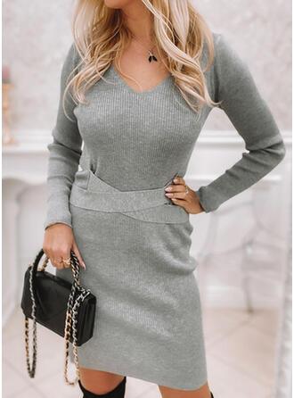 固体 Knit 長袖 ボディコンドレス 膝上 エレガント セーター ドレス