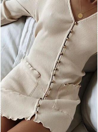 Sólido Bolsillos Cuello en V Casuales Largo Vestido de Suéter
