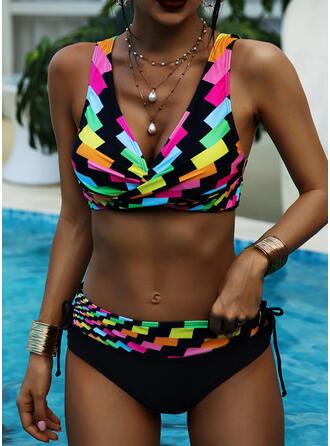 Hög Midja Splice färg Rem V-ringning Vintage Extra stor storlek bikini Badkläder
