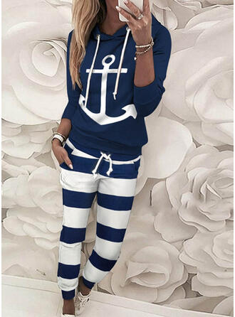 Striped Print Drawstring Casual Sporty Pants Suits