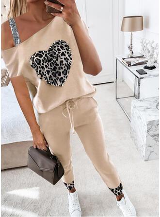 Leopard Hjärta Fritids Extra stor storlek blus & Tvådelade kläder uppsättning