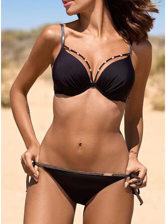 Color Sólido Empujar Correa Cuello en V Clásico Lindo Bikinis Trajes de baño