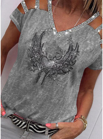 Sequins Heart Cold Shoulder Short Sleeves Casual Blouses