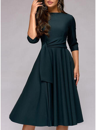 Solid 1/2 Sleeves A-line Knee Length Casual/Elegant Skater Dresses