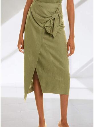 リネン プレーン パッチワーク ミッドカーフ 鉛筆のスカート 非対称