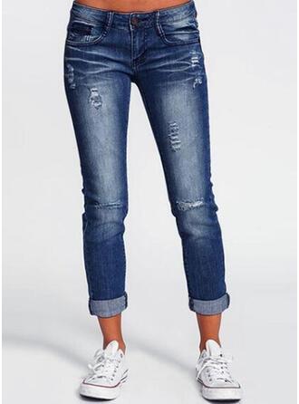 fickor Shirred Lång Solid Jeans Byxor