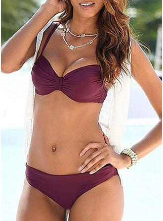 Color Sólido Cintura Baja Correa Sexy Bikinis Trajes de baño