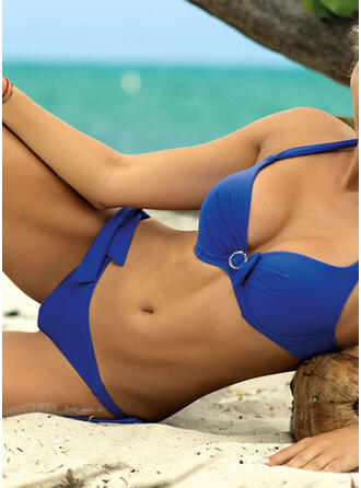 Color Sólido Ojo de cerradura Correa Cuello en V Sexy Exquisito Bikinis Trajes de baño