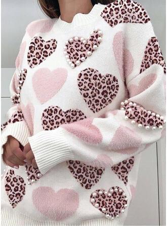lampart Gyöngyös Καρδιά Kerek nyak Hétköznapokra πουλόβερ