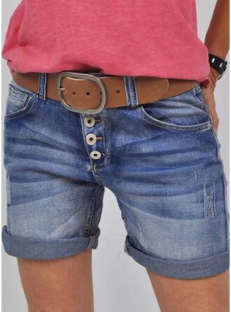 Solid Jean Over knæet Casual Årgang Plus størrelse Lomme shirred Button Bukser Shorts Denim & Jeans