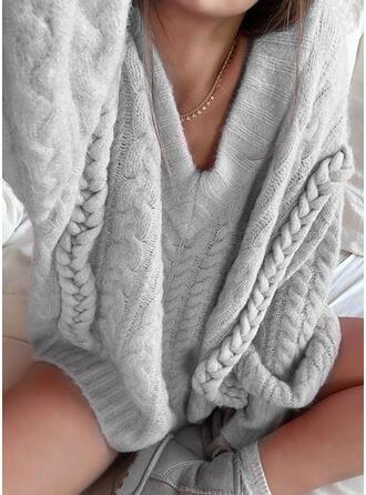 Jednolity Prążkowana dzianina Dekolt w kształcie litery V Casual Swetry