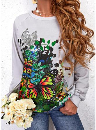 Print Butterfly Round Neck Long Sleeves Sweatshirt