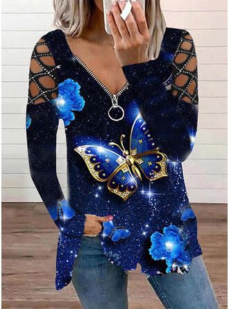 Tisk fluture Fără Umeri Dlouhé rukávy Tricouri